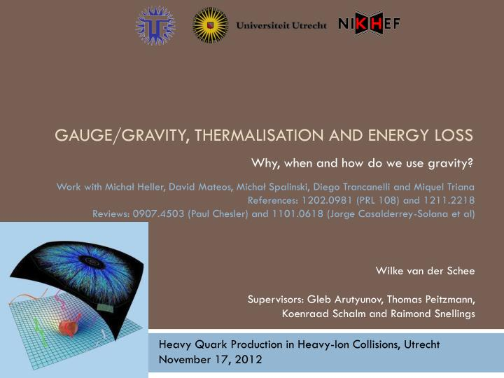 Gauge gravity thermalisation and energy loss