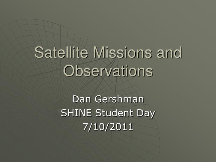 satellite missions and observations n.