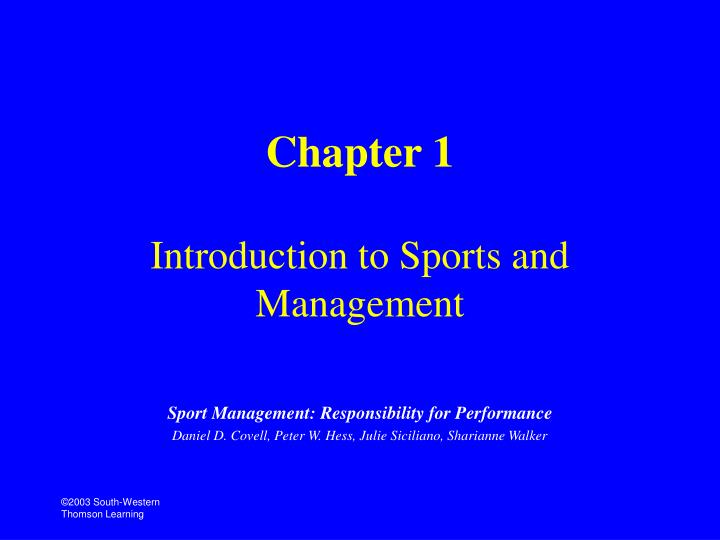 chapter 1 introduction to sports and management n.