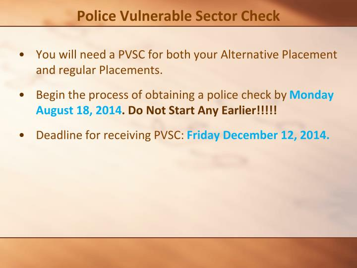 Police Vulnerable Sector Check
