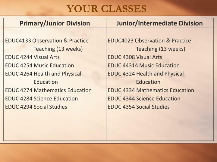 YOUR CLASSES