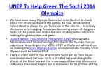 unep to help green the sochi 2014 olympics