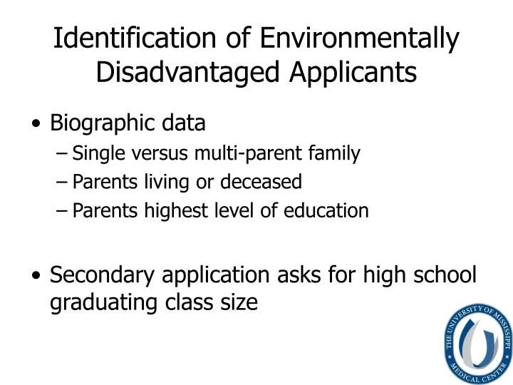 Identification of Environmentally Disadvantaged Applicants