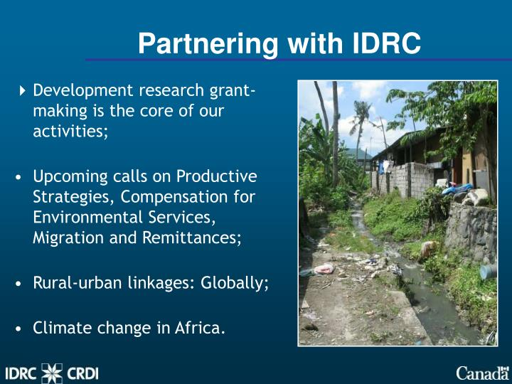 Partnering with IDRC
