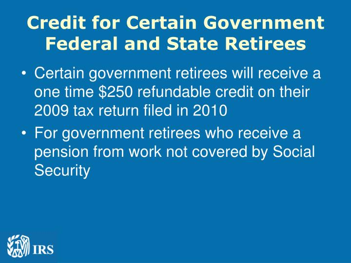 Credit for Certain Government Federal and State Retirees