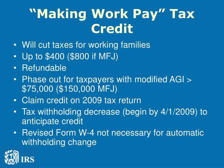 Making work pay tax credit