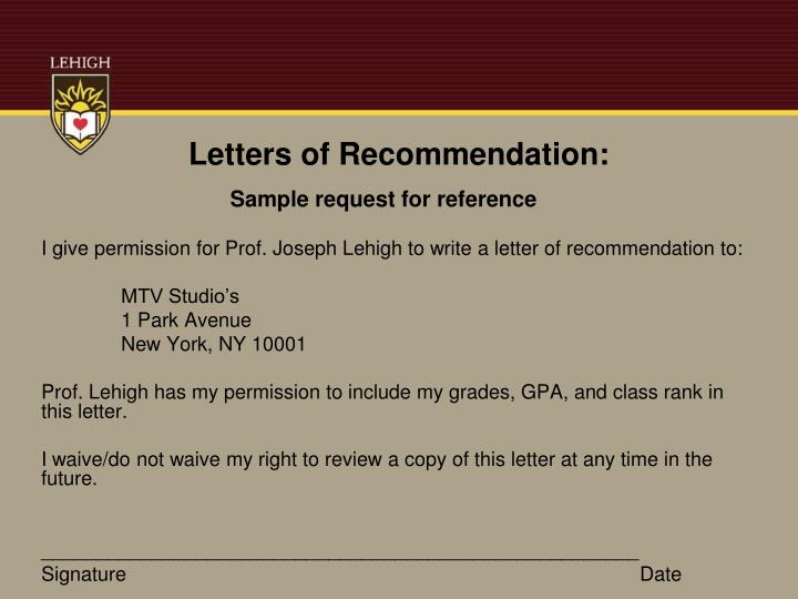 Letters of Recommendation: