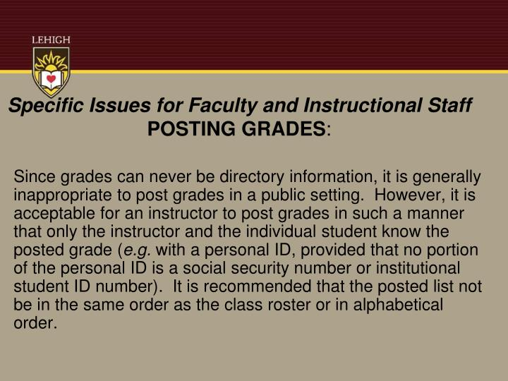 Specific Issues for Faculty and Instructional Staff