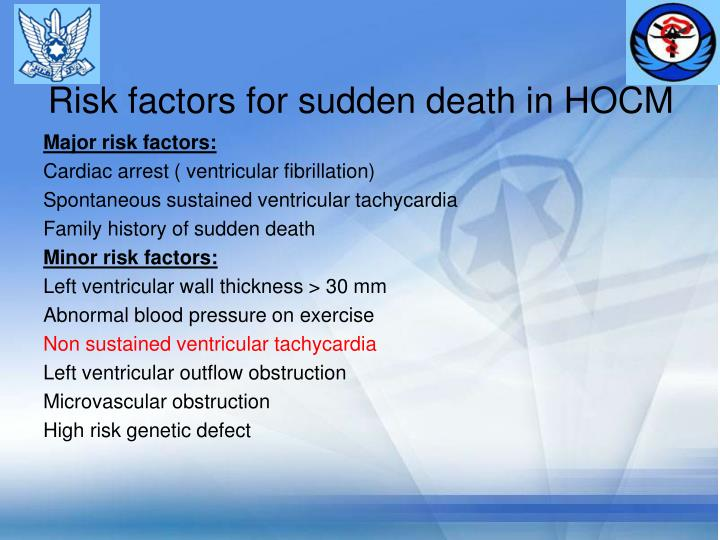 Risk factors for sudden death in HOCM
