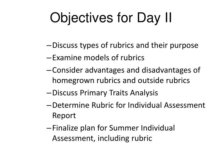 Objectives for day ii