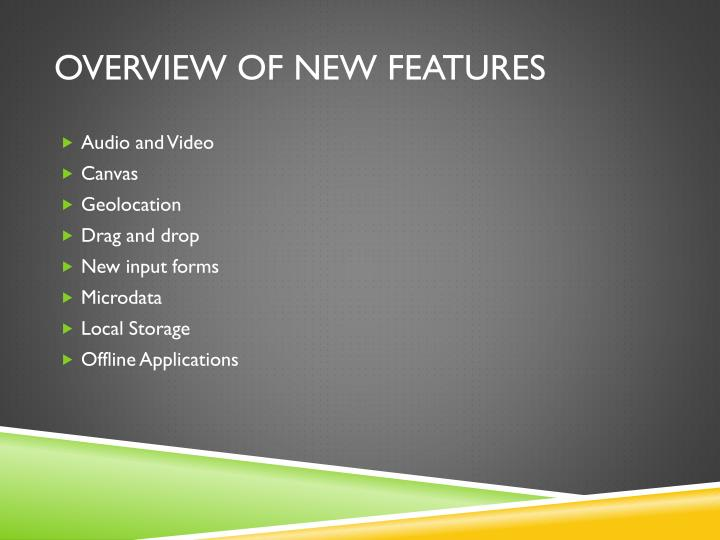 Overview of New features