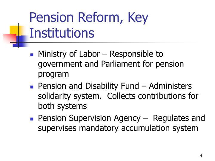 Pension Reform, Key Institutions