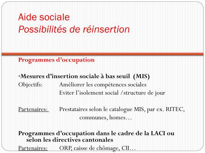 Aide sociale possibilit s de r insertion