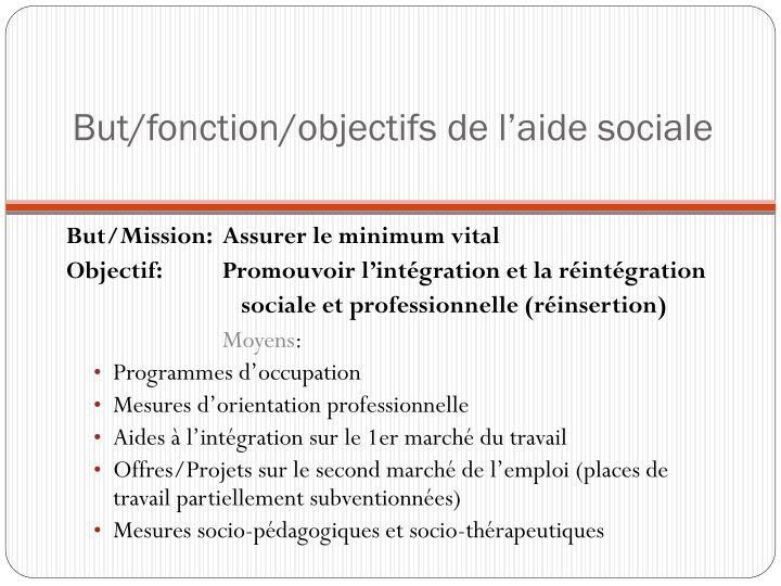 But fonction objectifs de l aide sociale