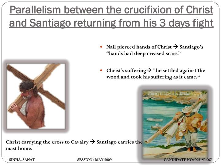 Parallelism between the crucifixion of Christ and Santiago returning from his 3 days fight