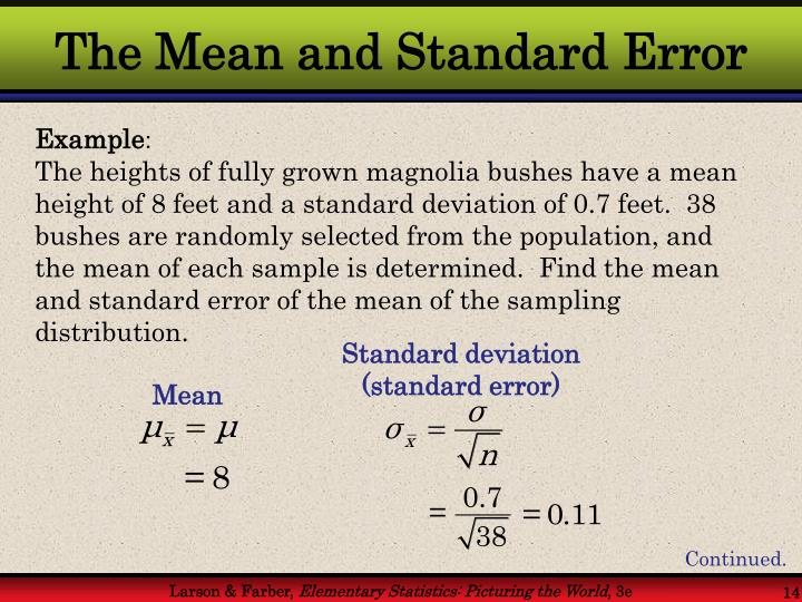 The Mean and Standard Error