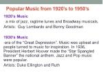 popular music from 1920 s to 1950 s