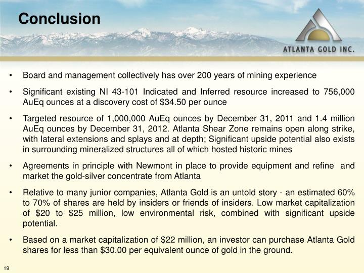 Board and management collectively has over 200 years of mining experience