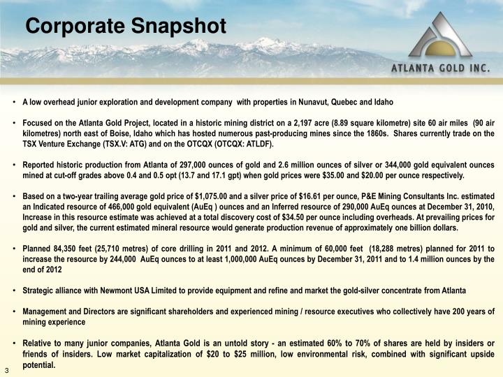 A low overhead junior exploration and development company  with properties in Nunavut, Quebec and Id...