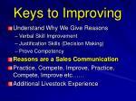 keys to improving