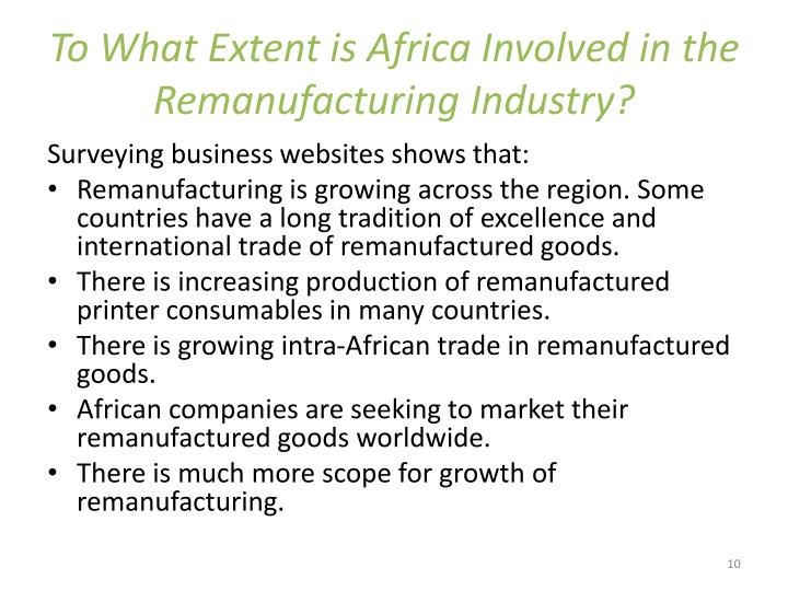 To What Extent is Africa Involved in the Remanufacturing Industry?