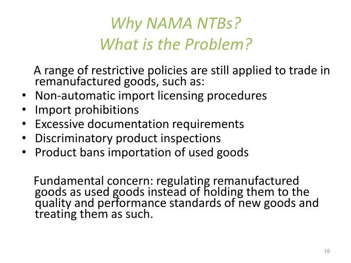 Why NAMA NTBs?