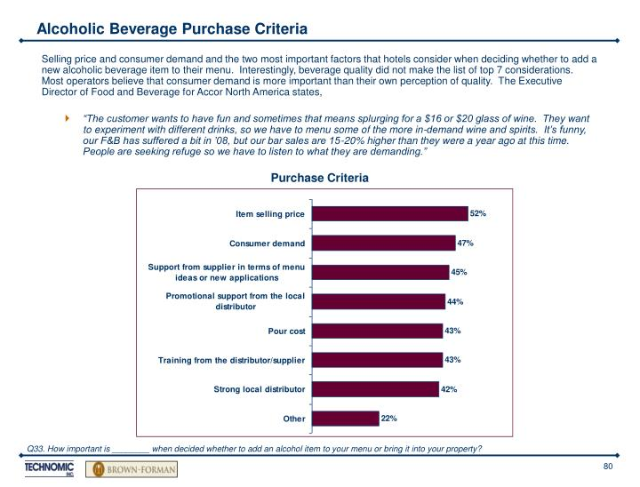 Alcoholic Beverage Purchase Criteria