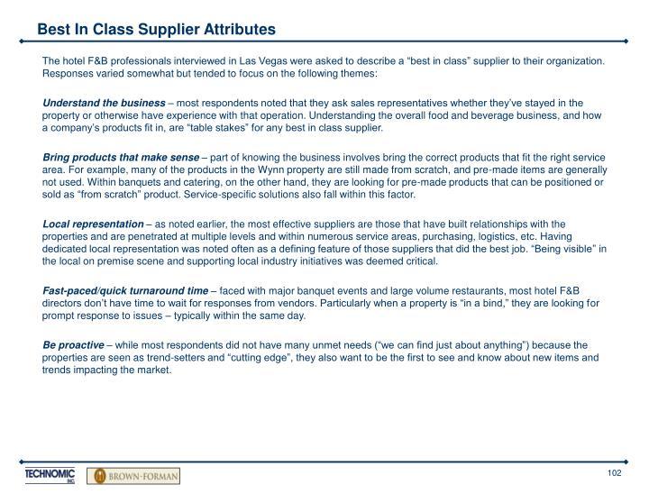 Best In Class Supplier Attributes