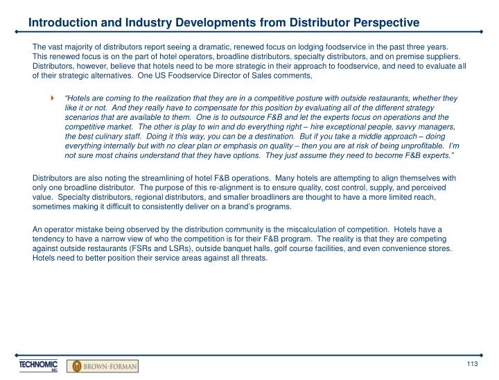 Introduction and Industry Developments from Distributor Perspective