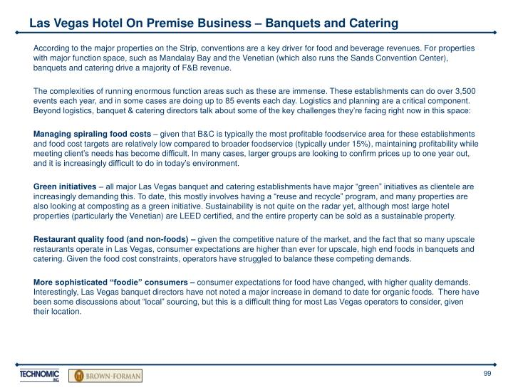 Las Vegas Hotel On Premise Business – Banquets and Catering