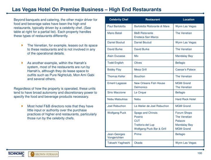 Las Vegas Hotel On Premise Business – High End Restaurants