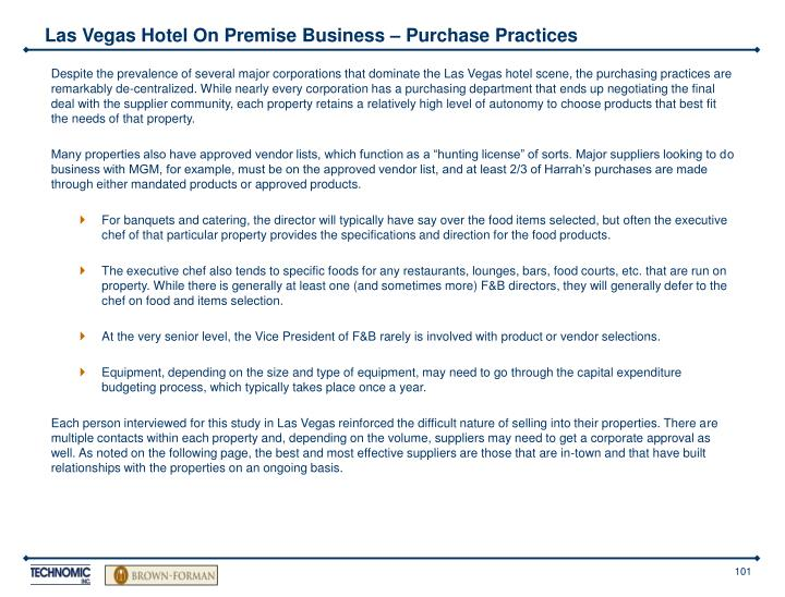 Las Vegas Hotel On Premise Business – Purchase Practices