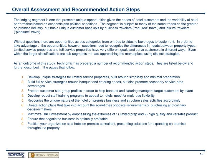 Overall Assessment and Recommended Action Steps