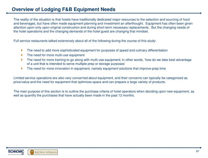 Overview of Lodging F&B Equipment Needs