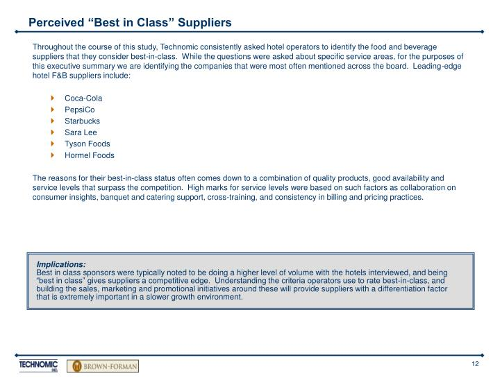 """Perceived """"Best in Class"""" Suppliers"""