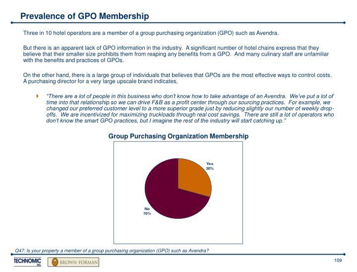 Prevalence of GPO Membership