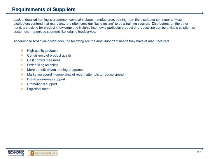 Requirements of Suppliers