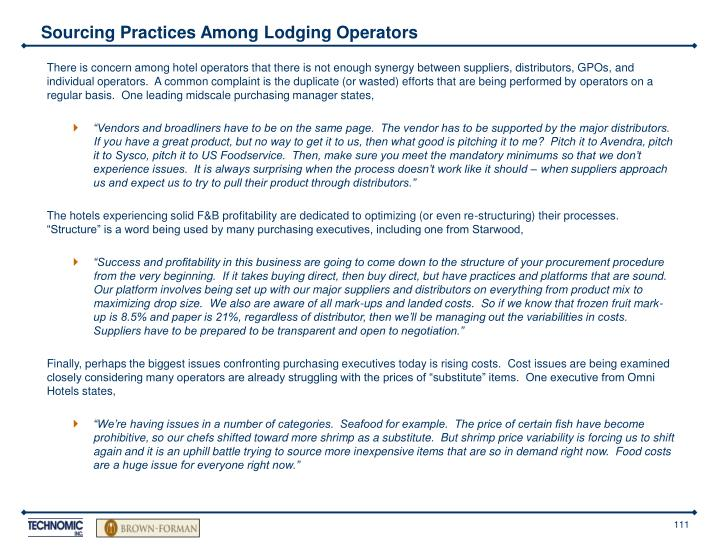 Sourcing Practices Among Lodging Operators