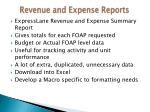 revenue and expense reports
