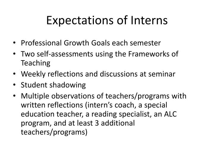 Expectations of Interns