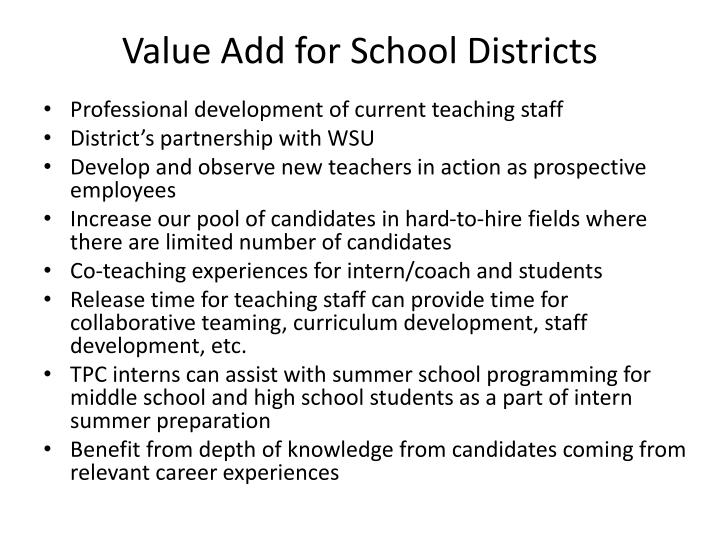 Value Add for School Districts