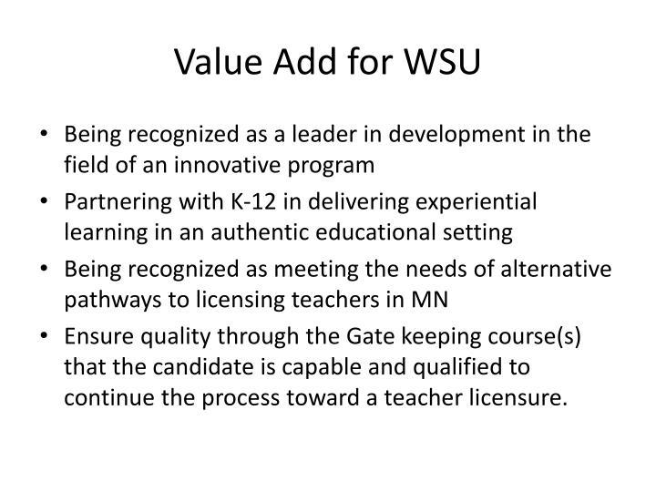 Value Add for WSU