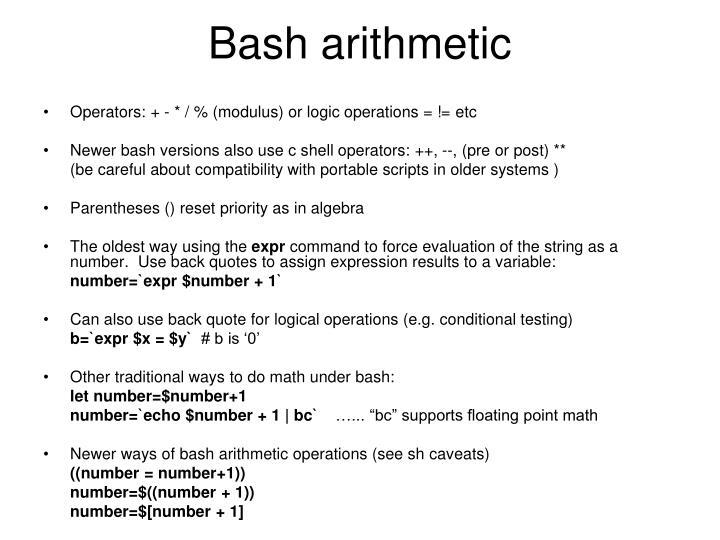 Bash arithmetic