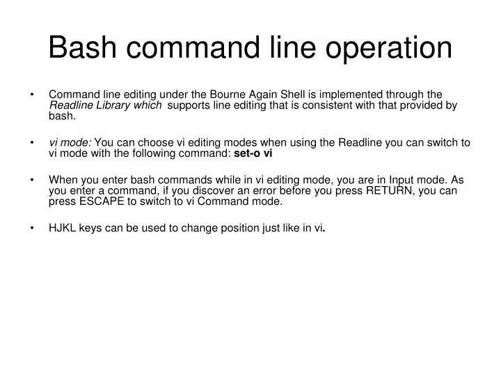 Bash command line operation