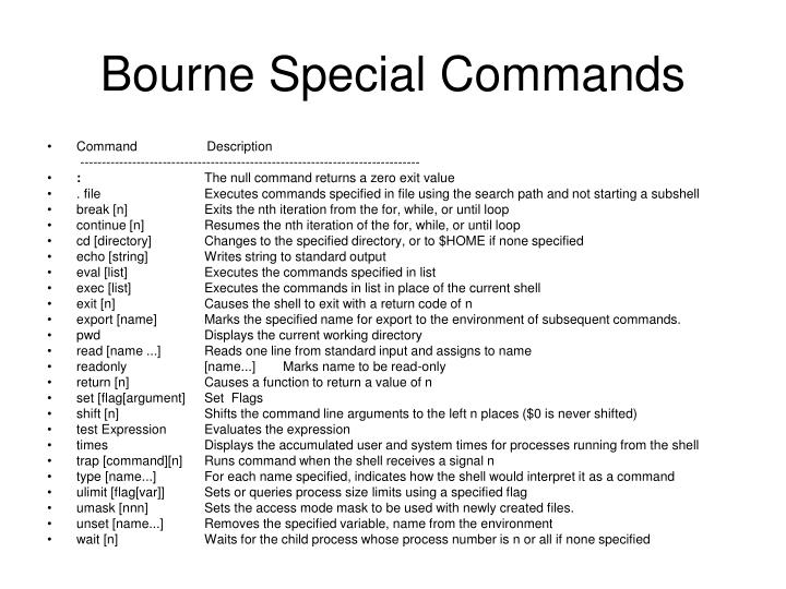 Bourne Special Commands