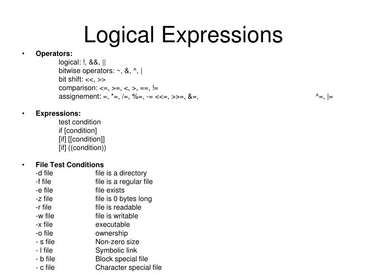 Logical Expressions