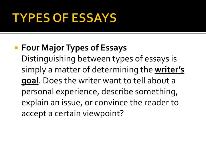 11 types of essay Of all the types of essays, the narrative essay is the one that comes most naturally to most people a narrative is just a story, and we all have plenty of experience at telling stories.