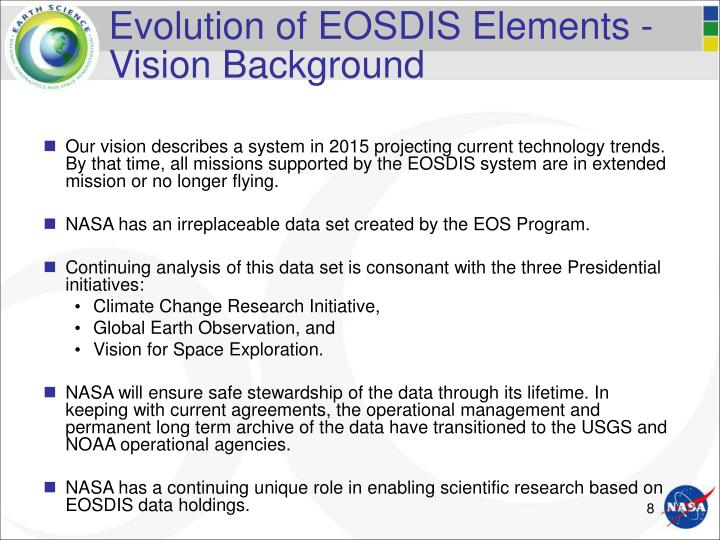 Evolution of EOSDIS Elements -  Vision Background