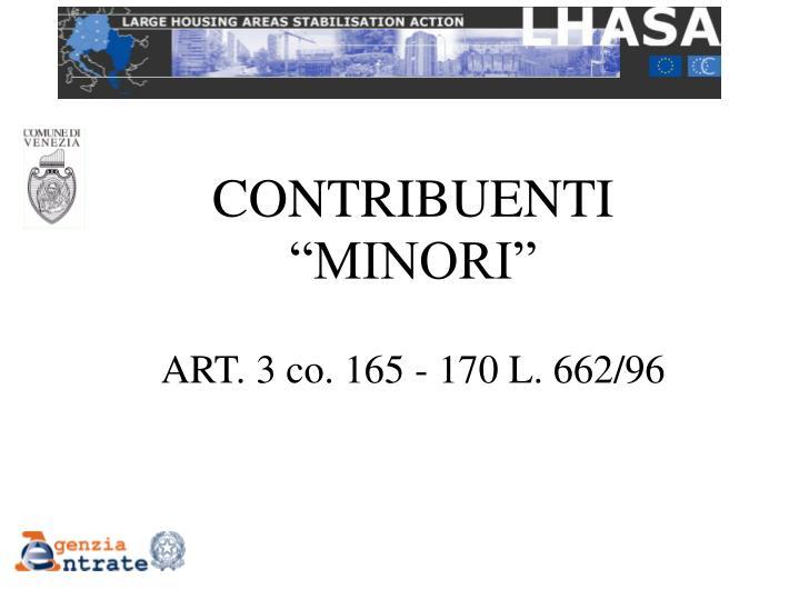"""CONTRIBUENTI """"MINORI"""""""