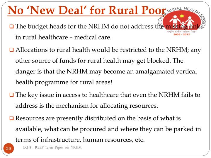 No 'New Deal' for Rural Poor